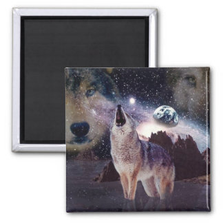 Wolf in the moon howling at the earth square magnet