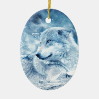Wolf In The Snow Christmas Ornament