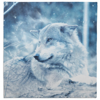Wolf In The Snow Napkin