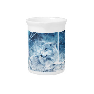 Wolf In The Snow Pitcher