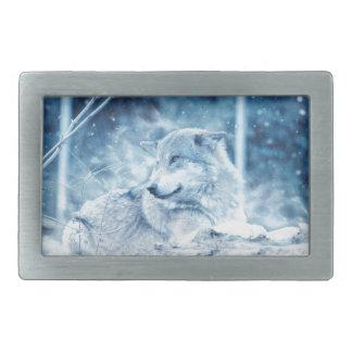 Wolf In The Snow Rectangular Belt Buckles