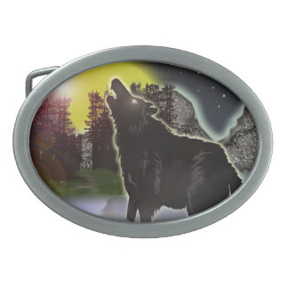 wolf in the woods oval belt buckle