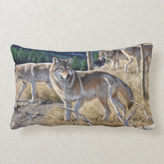 Wolf in winter forest lumbar cushion