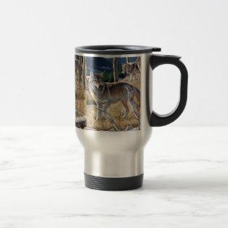 Wolf in winter forest travel mug