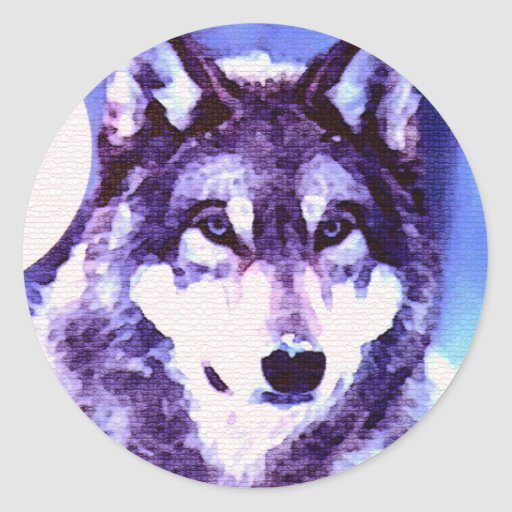 Wolf Look - Lonely Wolf Round Stickers