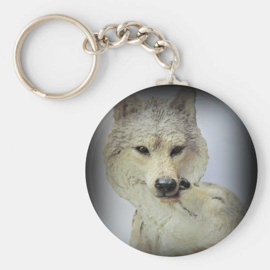 Wolf Love Basic Round Button Key Ring