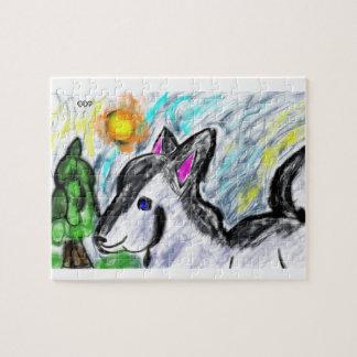 wolf love sun jigsaw puzzle
