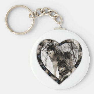 Wolf Lover Basic Round Button Key Ring