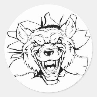 Wolf mascot breakthrough round sticker