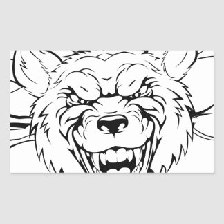 Wolf mascot breakthrough rectangle stickers