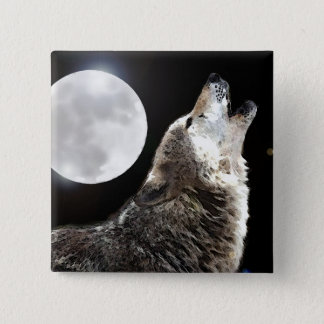 Wolf & Moon 15 Cm Square Badge