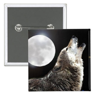 Wolf & Moon 15 Cm Square Badge