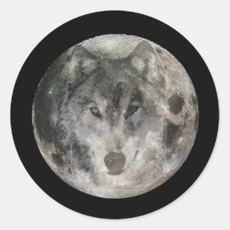 Wolf Moon 1 Round Sticker