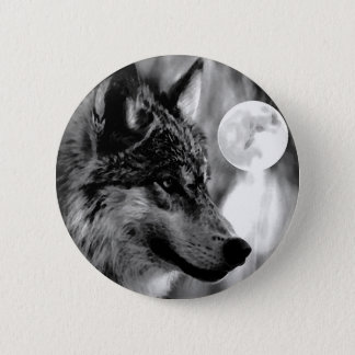 Wolf & Moon 6 Cm Round Badge
