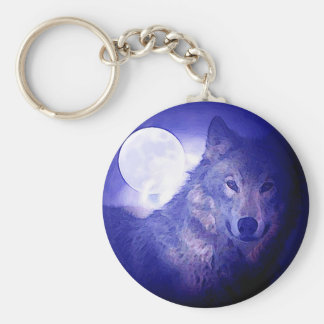 Wolf & Moon Basic Round Button Key Ring