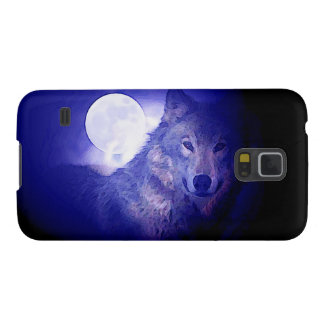 Wolf, Moon & Blue Night Galaxy S5 Cover