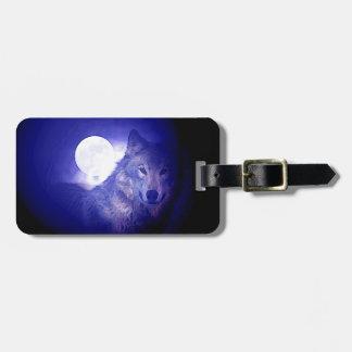 Wolf, Moon & Blue Night Luggage Tag