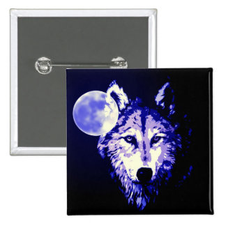 Wolf & Moon Dark Blue Night Collage 15 Cm Square Badge