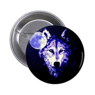Wolf & Moon Dark Blue Night Collage 6 Cm Round Badge
