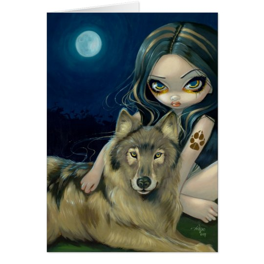 """Wolf Moon"" Greeting Card"
