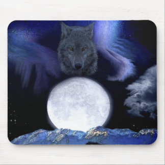 Wolf Moon Mountains Mouse Pads