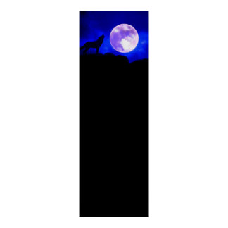 Wolf & Moon Panoramic Poster Print