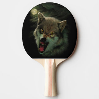 Wolf moon ping pong paddle