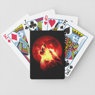 Wolf, Moon & Red Sky Bicycle Playing Cards