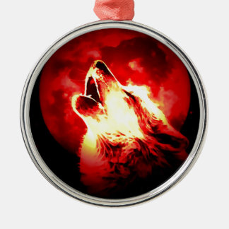 Wolf, Moon & Red Sky Christmas Ornament