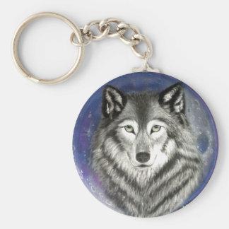 Wolf Moon Round Keychain
