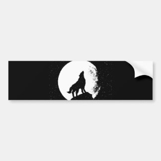 Wolf Moon Silhoutte Bumper Sticker