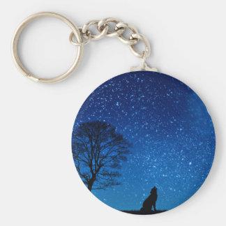 wolf moon stars basic round button key ring