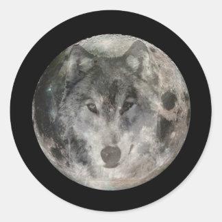 Wolf Moon Round Stickers