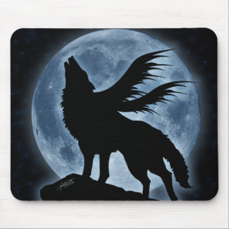 Wolf & Moon (With Stars) Mousepad