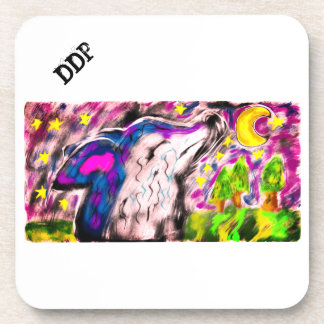 Wolf night art drink coasters