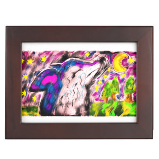 Wolf night art keepsake box