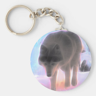 Wolf of the Winter Aurora Key Ring
