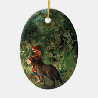 Wolf on Path with Red Ceramic Oval Decoration