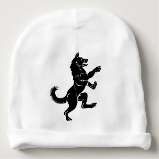 Wolf or Dog in Rampant Heraldic Coat of Arms Pose Baby Beanie