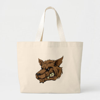 Wolf or werewolf character large tote bag