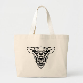 Wolf or Werewolf Mascot Large Tote Bag