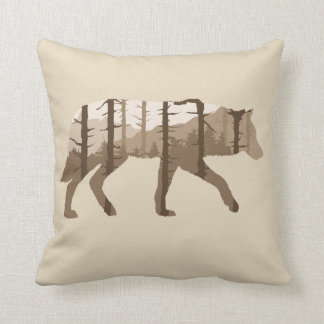 Wolf Outdoors with Trees and Mountains Pillow