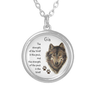 Wolf Pack Family Strength Quote, Animal Custom Silver Plated Necklace