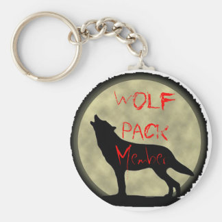 Wolf Pack Member Basic Round Button Key Ring