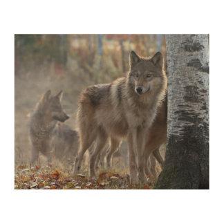 Wolf pack wood wall art