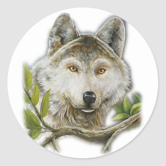 Wolf Painting with just face Classic Round Sticker