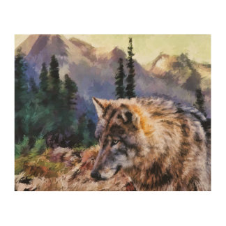 Wolf Painting Wood Wall Art