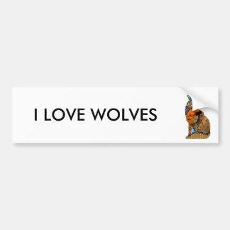 Wolf Patchwork Pet Bumper Sticker