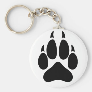 Wolf Paw Basic Round Button Key Ring
