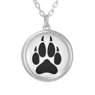 Wolf Paw Round Pendant Necklace